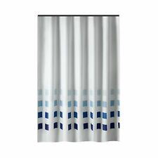 Extra Long Shower Curtain 72 x 78 Inch Gamma White With Blue Squares Fabric