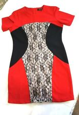 Three Seasons Shift Maternity Dress Womens Size Large Red Black White Lace