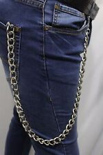 Cool Men Silver Long Metal Wallet Chunky Chain Link Keychain Jeans Biker Trucker