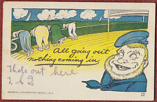 USED 1908 COMIC POSTCARD, SEA SICK PASSENGERS (ALL GOING OUT, NOTHING COMING IN)