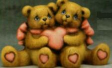"C489 - Ceramic Bisque 3 3/4"" X 5"" Cuddle Bears with Valentine Heart - U Paint"