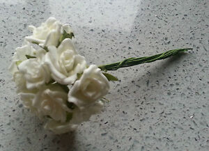 12 ivory foam wired mini roses - favours, cakes, buttonholes, table decorations