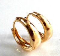 Pattern Creole Huggie Hoop Earrings 18K Gold Plated Women Medium Size 19x7mm UK