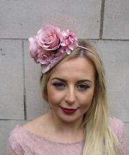 Blush Dusky Dusty Rose Flower Net Fascinator Hair Headband Races Teardrop  5026 c3e2f1496241