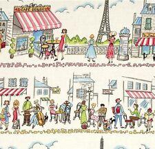 PARIS VILLE ~ Eiffle Tower~Side Walk Cafe~Michael Miller ~ Fabric ~ per 1/2 yd