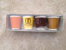Les Artistes Porcelain and Silicone Espresso Coffee Goblets Cups Yellow/Brown