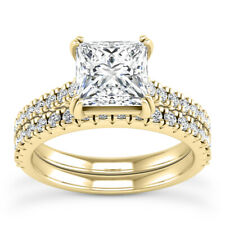 4.01 ct HUGE princess diamond engagement wedding anniversary ring set size 11