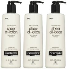 Neutrogena Sheer Oil-Lotion, Skin-Silkening Moisturizer, 8.50 oz (Pack of 3)