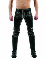 MEN'S COWHIDE LEATHER JEANS DOUBLE ZIP WHITE PADDED PANTS TROUSERS BLUF BREECHES