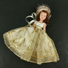 "Vintage Story Book Dolls Nancy All Sleepy Eye 6.5"" White Gold Dress Hat Plastic"