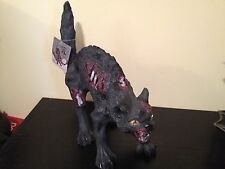 New GRANDINROAD ANIMATED RED LIGHT EYES ZOMBIE BLACK CAT HAUNTED Graveyard PROP