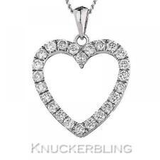 0.55ct F VS Brilliant Cut Diamond Open Heart Pendant 18ct White Gold with Chain