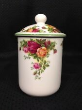 Royal Albert 'Old Country Roses' Fine China Small Canister with Lid ~ Green Trim