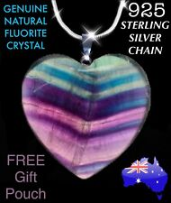 Natural Fluorite Crystal Heart Healing Pendant 925 Sterling Chain Necklace Gift