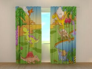 Window Curtain Printed with Little Dinosaurs Image Wellmira Ready Made