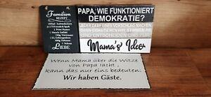 3 Stück Spruchbilder Blech Holz Schiefer Dekoration Wanddekoration
