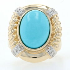 Yellow Gold Turquoise & Diamond Ring - 14k Cabochon Cut Ribbed