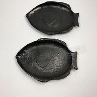 Fish Pottery Plates Stoneware Ceramic Set Signed Dish Black Glazed