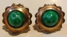Vintage Gold Plated Simulated Green Marble Jade Cabochon Studs in Gift Box*****