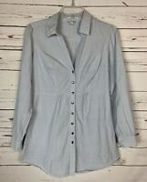 Odille Anthropologie Women's Size 6 White Blue Striped Button Blouse Tunic Top