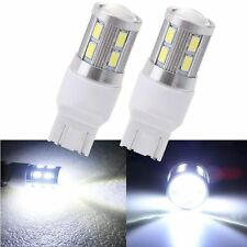 2× LED Car Tail Lamp T20 7443 12 SMD White 6000K Back Up Projector Reverse Light