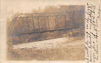Wellsburg West Virginia Postmark~Steel Bridge~Little Dam & Falls~1906 RPPC