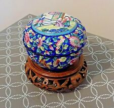 More details for antique qing chinese hand decorated peking enamel box on reticulated wood stand