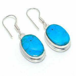 "Tibetan Turquoise Gemstone Gift 925 Sterling Silver Jewelry Earring 1.42 "" M891"
