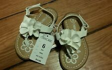 "NWT - CHEROKEE Girls Sandals ""Jess"" white flowers - Size 6"