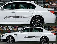 2X UNIVERSAL Decal Stripes THE FAST AND THE FURIOUS FITS BMW M5 Honda Civic Si
