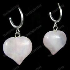 CLIP ON look pierced PINK ROSE QUARTZ HEART EARRINGS silver fashion GEMSTONE