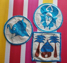 Retro African Vintage blue brown beige village mask elephant - 3 Cushion Covers