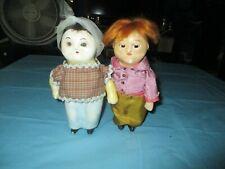 "? Glass Eyed Wax Dolls 7."" tall Vintage"