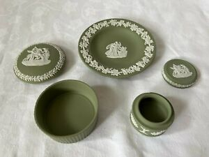 "WEDGWOOD JASPER WARE SAGE GREEN ""ROUND LIDDED BOX, RING BOX & a DISH ~AS FOUND"
