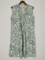 EAST | 100% Linen | Button Down Sheath Tunic Dress | Size 12 | Paisley | Green