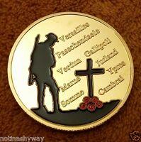 World War I Gold Coin Union Jack Poppy Remeberance Plane Tank Trench Army II UK