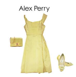 Stunning ALEX PERRY Silk Shantung Yellow Dress - Size 8