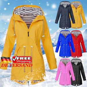 Outdoor Wasserdicht Mantel Damen Kapuzenjacke Jacke Kapuze Outwear Hoodie 36-50