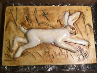 Ceramic Rabbit Easter Bunny Hanging Art Wall Plaque Signed. Home / Garden Nice!