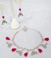 "Vintage Sterling Silver Heart Padlock Vampire Bat Charm Bracelet Earrings By D""s"