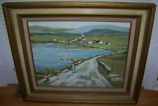 VINTAGE OIL ON MASONITE IMPRESSIONIST PAINTING CANADIAN VILLAGE SALLY ANN DURIE