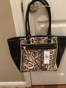 New Nine & Co. Handbag Purse Black & Brown With Lime Trim NWT