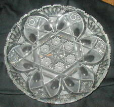 VINTAGE BOHEMIAN CUT CRYSTAL GLASS BOWL, QUEEN LACE PATTERN, 11 INCHES