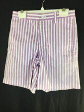 Kellys Kids Boys Purple White Striped Shorts Size 7 Zipper Fly Loops Adj Waist