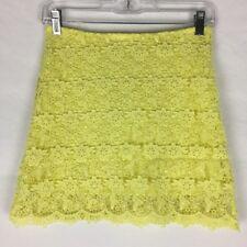 WITCHERY Girls Size 12 Yellow 100% Cotton Lace Mini Skirt With Lining