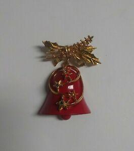 "Vintage Signed ART Enamel Christmas Bell Dangle Brooch Rhinestone STARS HTF 2"""