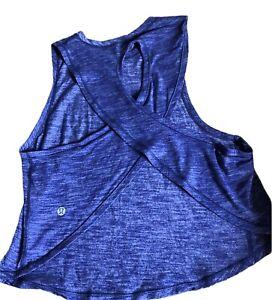 Lululemon Fast As Light Muscle Tank size 2/4 Heathered Emperor Blue EUC Run Gym