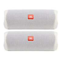 JBL Flip 5 Waterproof Portable Wireless Bluetooth Speaker Bundle - (Pair) White