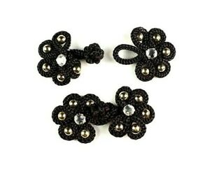 10 Pairs Black w Gold Beads Chinese Knot Buttons Frog Fasteners - Sewing