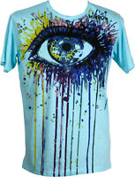 Mirror T-Shirt Rainbow Eyes türkis Sure Größe M NEU Goa Hippie Psy Festival Art